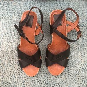 Clark's Artisan Black Leather Strap Wedges 8.5